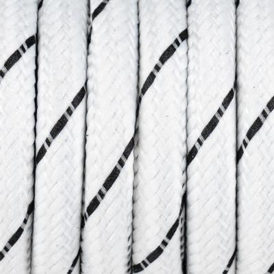 Biały kabel z czarną nitką w oplocie poliestrowym S07 serpentyna biało czarna 2x0,75 Kolorowe Kable
