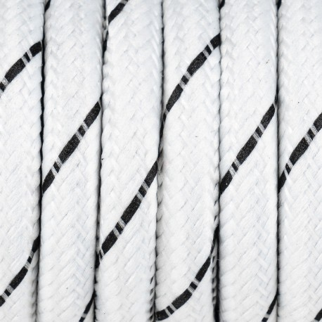 White cable with black braided polyester thread S07 serpentine white and black 2x0,75 Kolorowe Kable