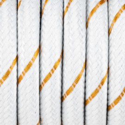 Biały kabel ze złotą nitką w oplocie poliestrowym S08 serpentyna biało złota 2x0,75 Kolorowe Kable