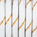 White cable with gold thread, S08 polyester braided streamer, white gold 2x0.75 Kolorowe Kable
