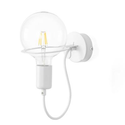 Biała lampa ścienna Loft Metal Wall kinkiet z białym przewodem i żarówką LED 4W KOLOROWE KABLE