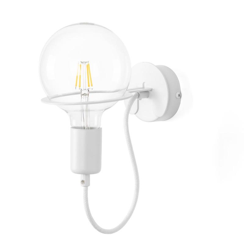 White Loft Metal Wall wall lamp, white wall light with 4W LED bulb Kolorowe Kable