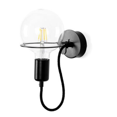 Czarna lampa ścienna Loft Metal Wall kinkiet z czarnym przewodem i żarówką LED 6W KOLOROWE KABLE