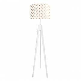 Golden dots, white floor lamp