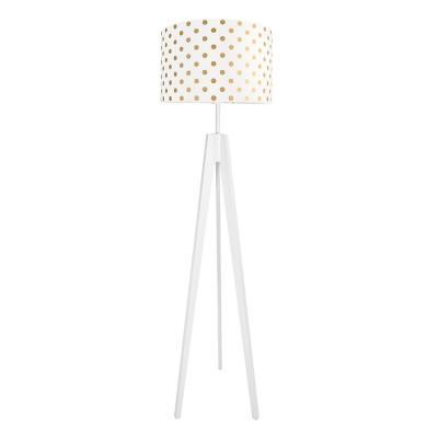 Lampa podłogowa biały abażur w grochy złote kolekcja Elegance youngDECO