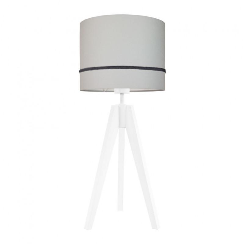 Lampa na stolik porcelanowa szarość