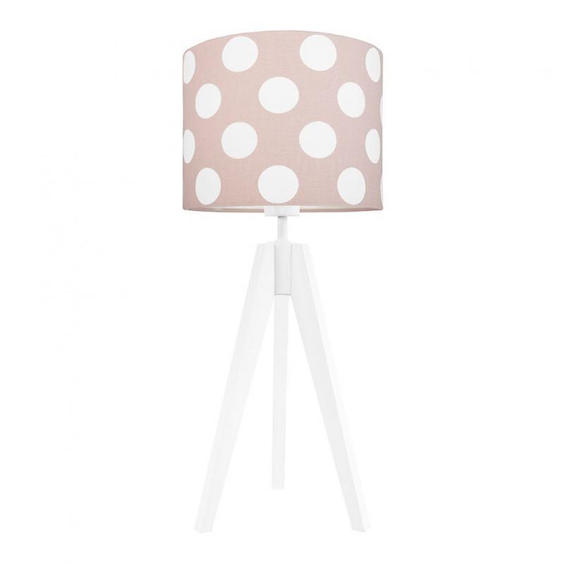 Lampa na stolik grochy na brudnym różu
