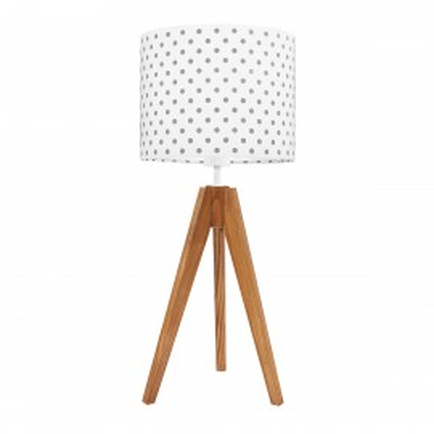 Lampa na stolik abażur w grochy szare Kolekcja Scandinavian youngDECO