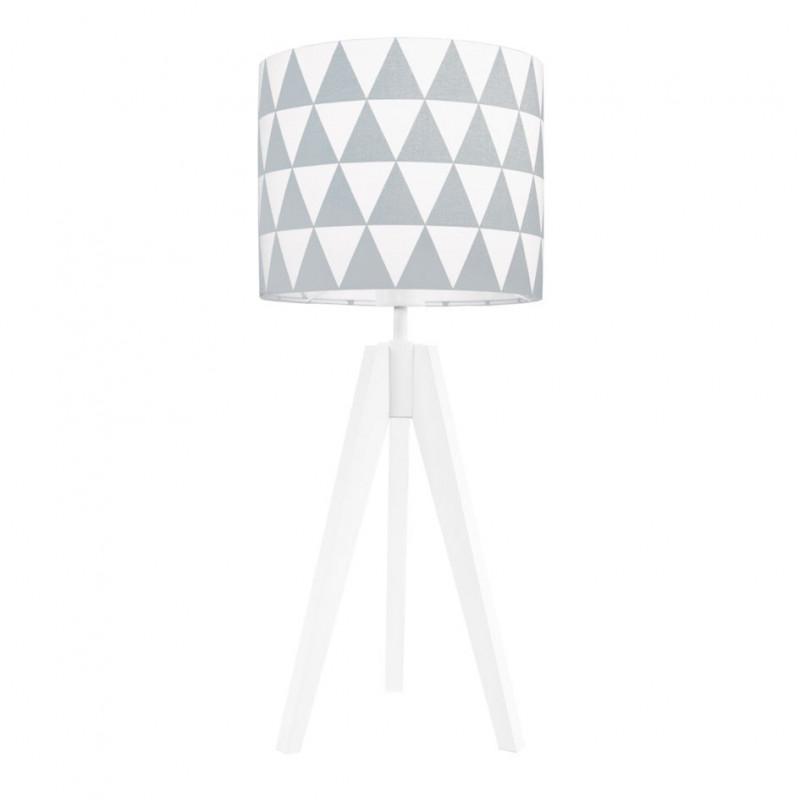 Lampa na stolik abażur w trójkąty szare Kolekcja Scandinavian youngDECO