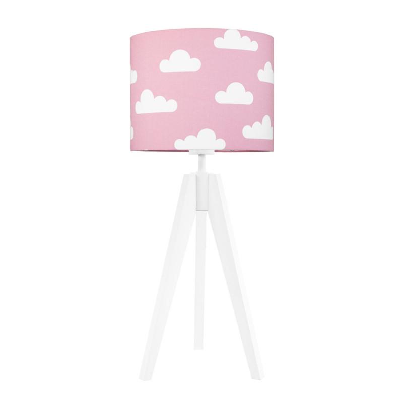 Lampa na stolik abażur w chmurki na różowym Kolekcja Scandinavian youngDECO