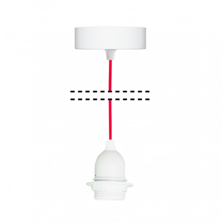 White suspension for 1xE27 lamps with red cable youngDeco