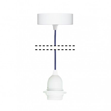White suspension for 1xE27 lamps with navy blue cable youngDeco