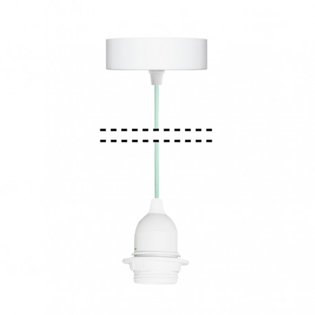 White suspension for 1xE27 lamps with mint cable youngDeco