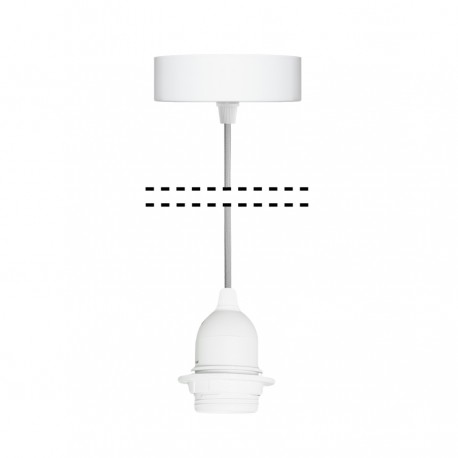White suspension for 1xE27 lamps with gray cable youngDeco