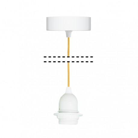 White suspension for 1xE27 lamps with yellow  cable youngDeco