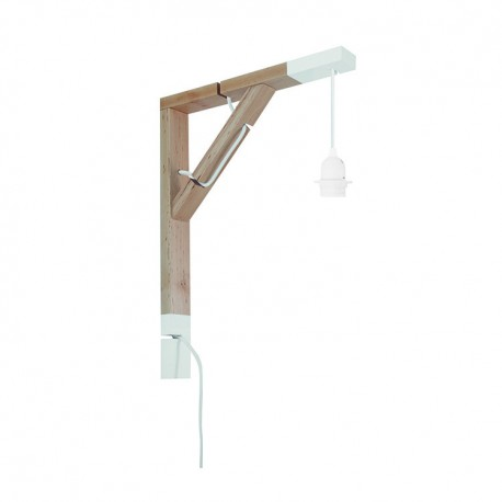 Wooden wall mount for lamp white, arm for wall lamp SIMPLE youngDeco