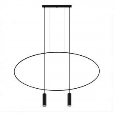 Black hanging lamp HOLAR 2  oval frame THORO