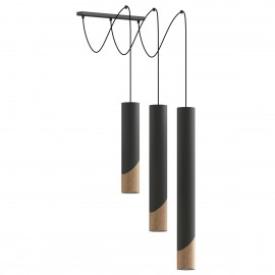 Lampa wisząca z drewna i metalu SVEG 3 THORO