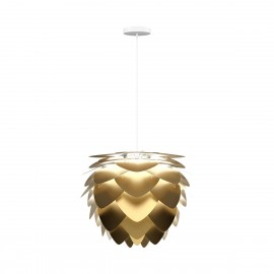 Lampa sufitowa Aluvia medium brushed brass z białym przewodem w oplocie UMAGE szczotkowany mosiądz