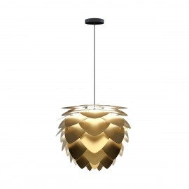 Aluvia medium brushed brass ceiling lamp with black braided wire UMAGE