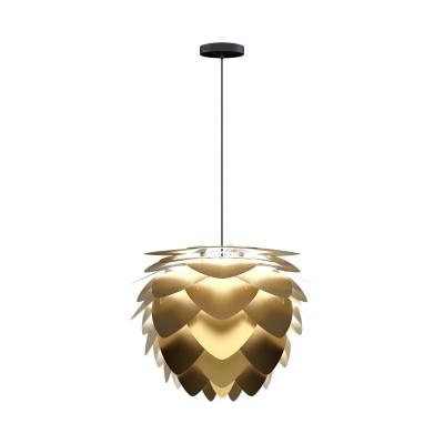 Lampa sufitowa Aluvia medium brushed brass z czarnym przewodem w oplocie UMAGE szczotkowany mosiądz