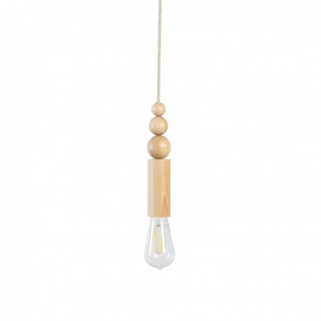 Wooden pendant lamp with beads Loft Rullo with black cotton braided cord Kolorowe Kable