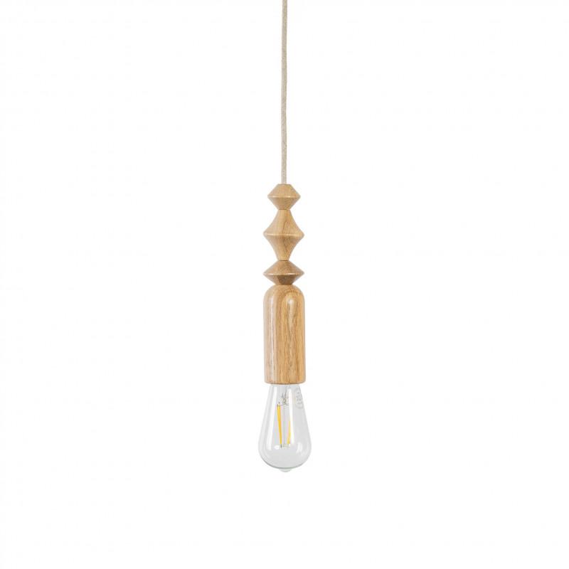 Lampa wisząca z dębowymi koralikami Loft Tammi biała maskownica i przewód w lnianym oplocie KOLOROWE KABLE
