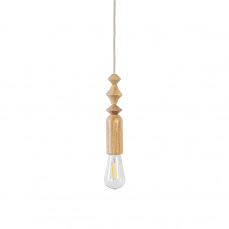 Pendant lamp with oak beads Loft Tammi black grill and black cord in cotton braid Kolorowe Kable