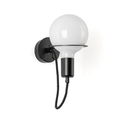 Czarna lampa ścienna Loft Metal Wall kinkiet z czarnym przewodem i mleczną żarówką LED 6W KOLOROWE KABLE