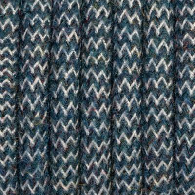 Morski zygzag kabel w oplocie moherowym M12 Zofia dwużyłowy 2x0.75 Kolorowe Kable