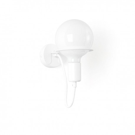 White Loft Metal Wall wall lamp with white cable and milky LED bulb 4W Kolorowe Kable