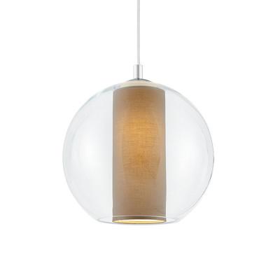 Sufitowa lampa wisząca MERIDA L beżowy abażur w transparentnym szklanym kloszu KASPA