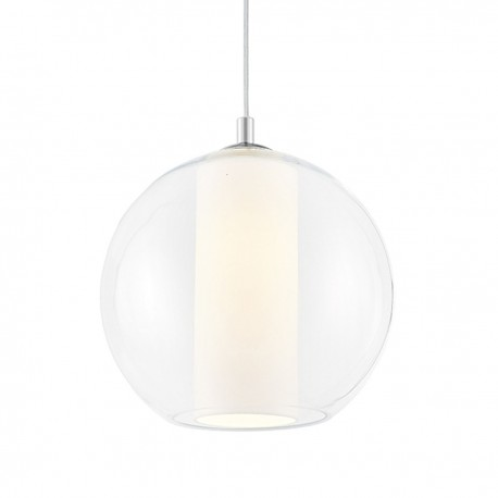 Ceiling hanging lamp MERIDA L white lampshade in a transparent glass lampshade KASPA