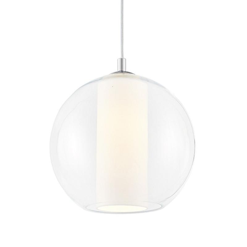 Sufitowa lampa wisząca MERIDA L biały abażur w transparentnym szklanym kloszu KASPA