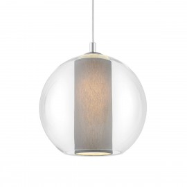 Ceiling hanging lamp MERIDA L grey lampshade in a transparent glass lampshade KASPA