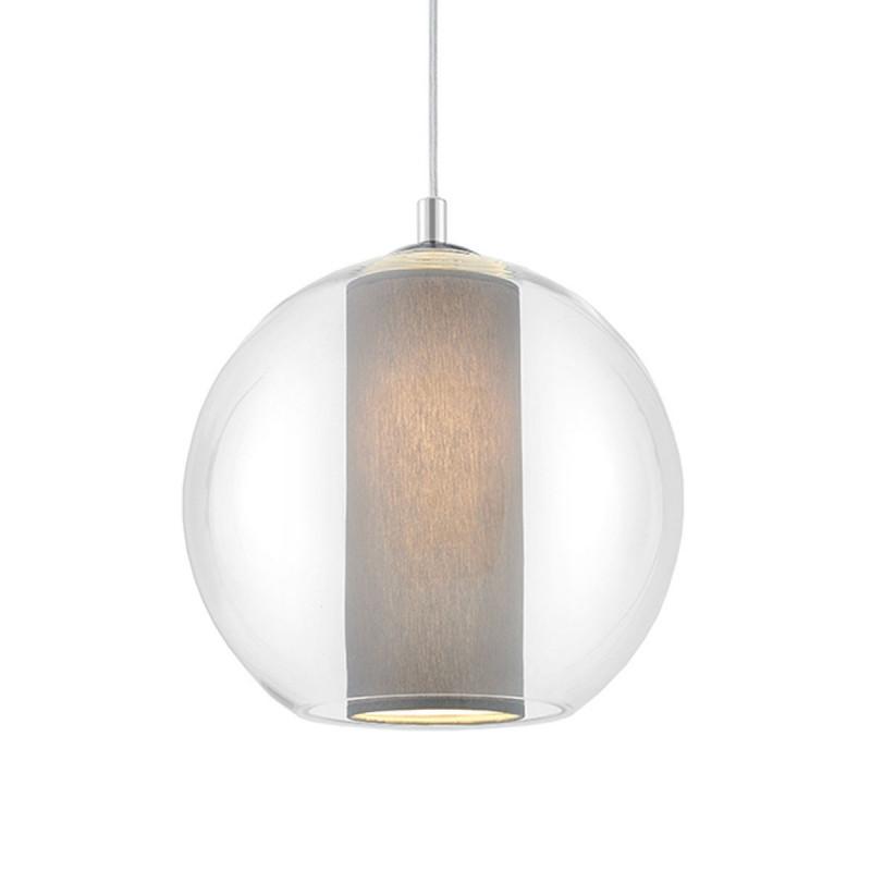 Sufitowa lampa wisząca MERIDA L szary abażur w transparentnym szklanym kloszu KASPA