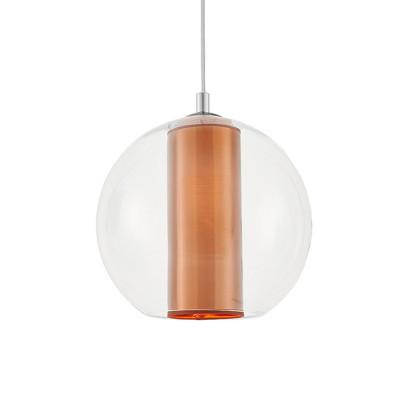 Sufitowa lampa wisząca MERIDA L miedziany abażur w transparentnym szklanym kloszu KASPA