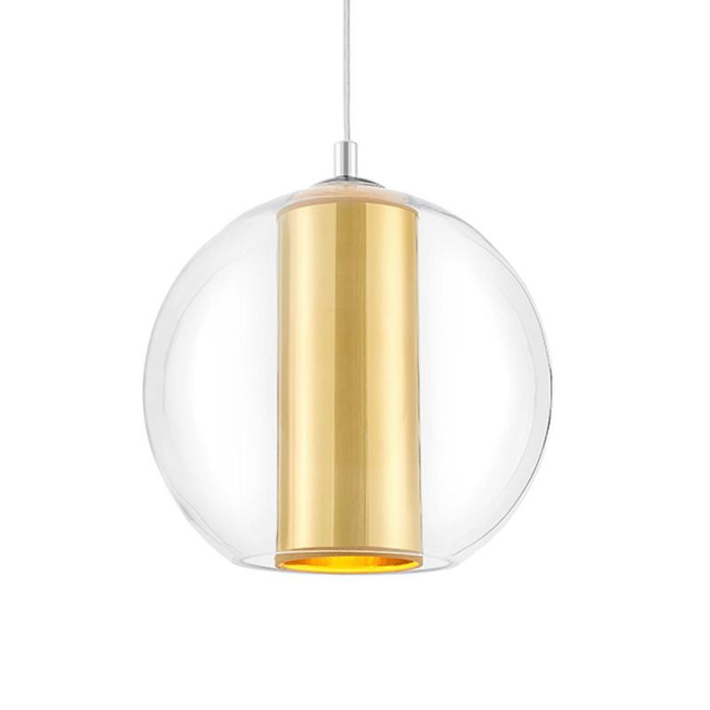Sufitowa lampa wisząca MERIDA L złoty abażur w transparentnym szklanym kloszu KASPA