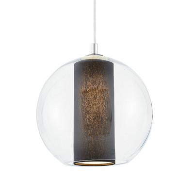 Sufitowa lampa wisząca MERIDA L czarny abażur w transparentnym szklanym kloszu KASPA