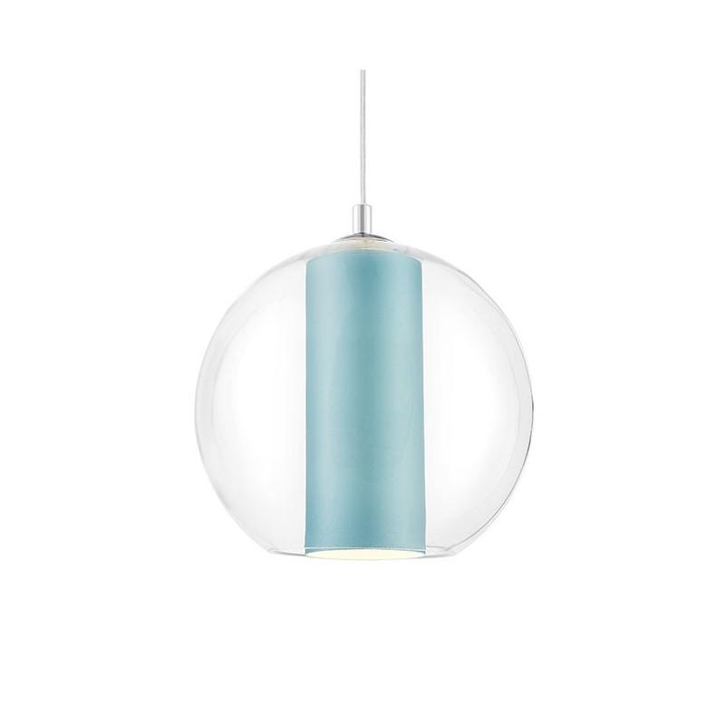 Sufitowa lampa wisząca MERIDA L jasny morski abażur w transparentnym szklanym kloszu KASPA