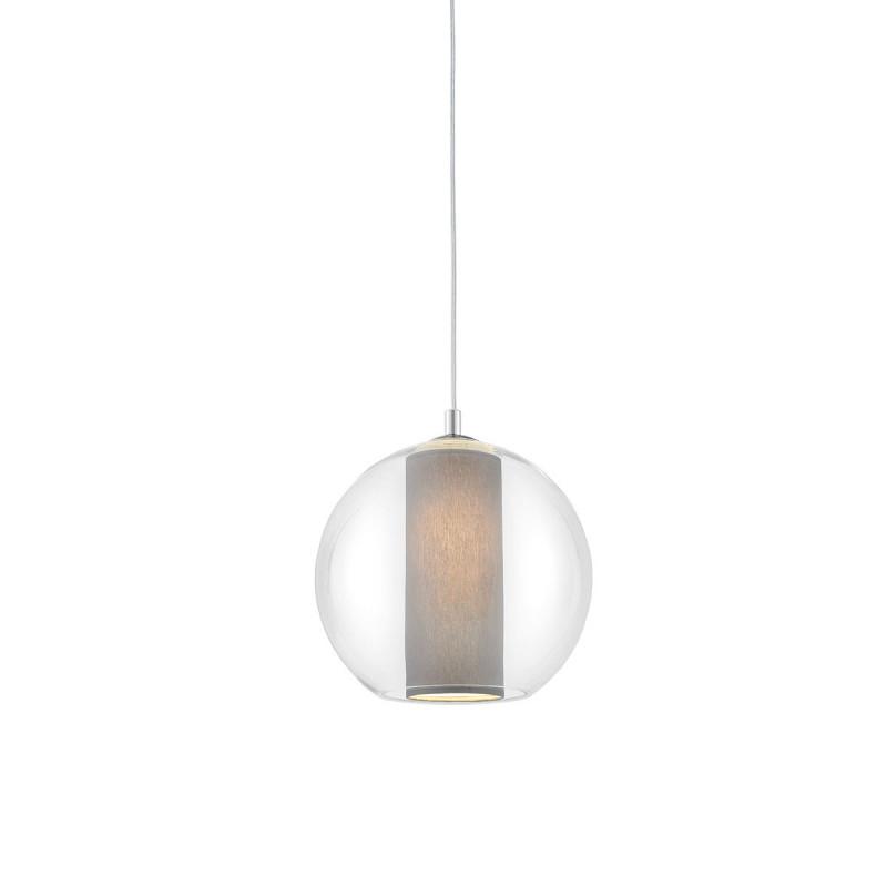 Sufitowa lampa wisząca MERIDA S szary abażur w transparentnym szklanym kloszu KASPA