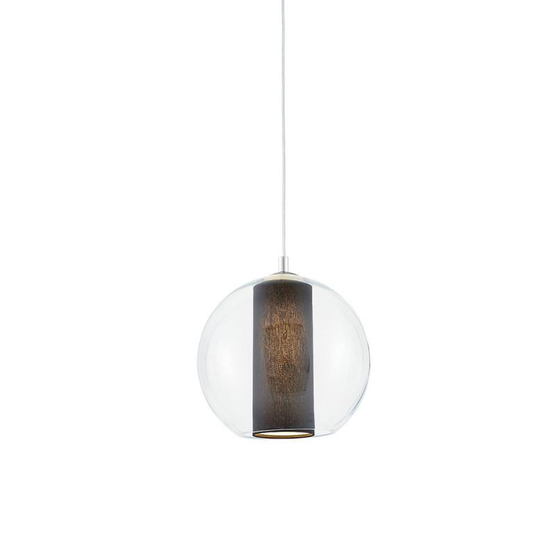 Sufitowa lampa wisząca MERIDA S czarny abażur w transparentnym szklanym kloszu KASPA