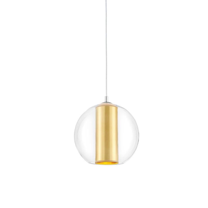 Sufitowa lampa wisząca MERIDA S złoty abażur w transparentnym szklanym kloszu KASPA