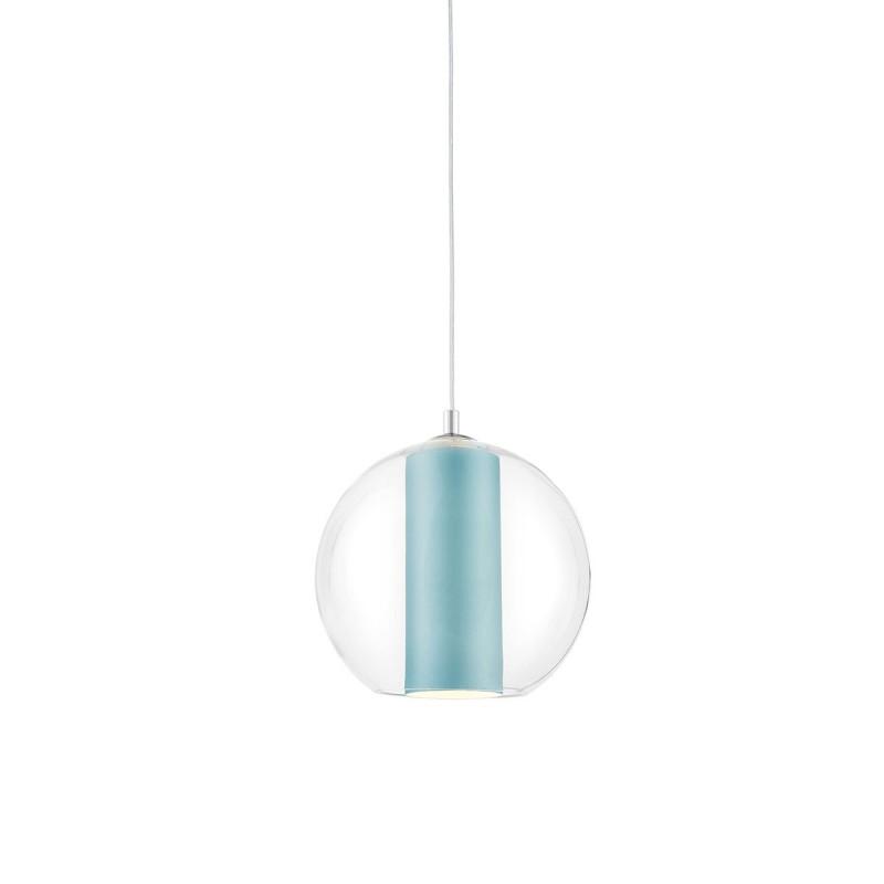 Sufitowa lampa wisząca MERIDA S jasny morski abażur w transparentnym szklanym kloszu KASPA