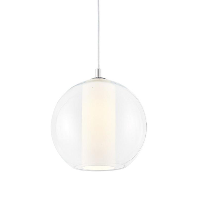 Sufitowa lampa wisząca MERIDA M biały abażur w transparentnym szklanym kloszu KASPA