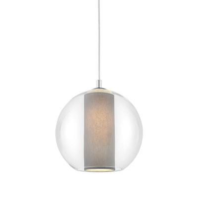 Sufitowa lampa wisząca MERIDA M szary abażur w transparentnym szklanym kloszu KASPA