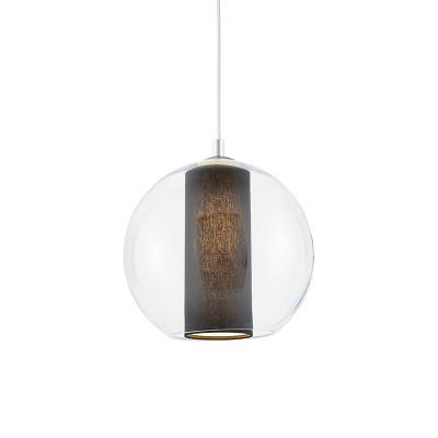 Sufitowa lampa wisząca MERIDA M czarny abażur w transparentnym szklanym kloszu KASPA