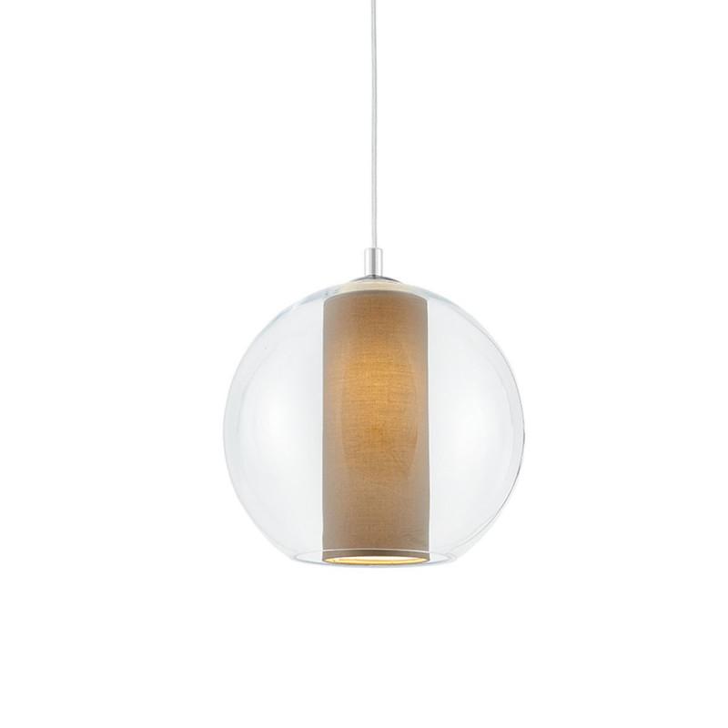 Sufitowa lampa wisząca MERIDA M beżowy abażur w transparentnym szklanym kloszu KASPA kolorowekable.pl