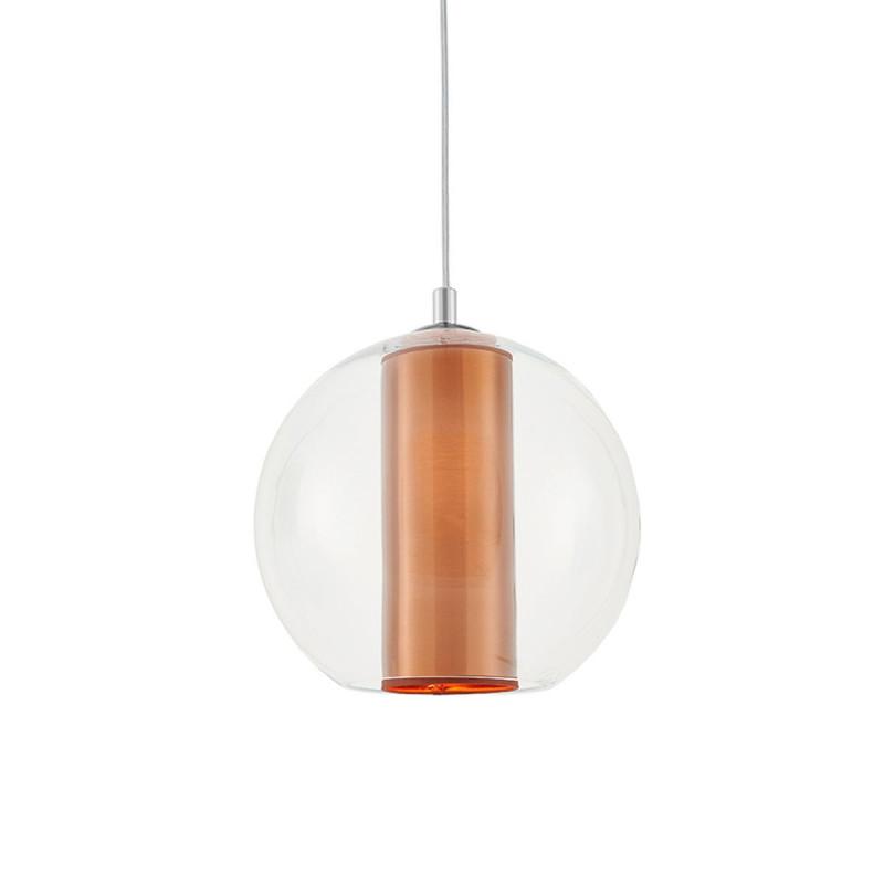 Sufitowa lampa wisząca MERIDA M miedziany abażur w transparentnym szklanym kloszu KASPA