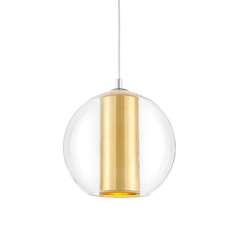 Sufitowa lampa wisząca MERIDA M złoty abażur w transparentnym szklanym kloszu KASPA